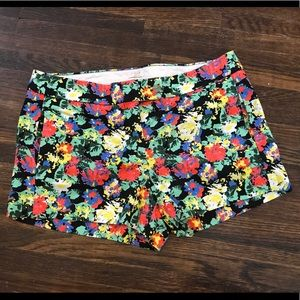 J. Crew Floral Stretch Chino Style Shorts, Size 10